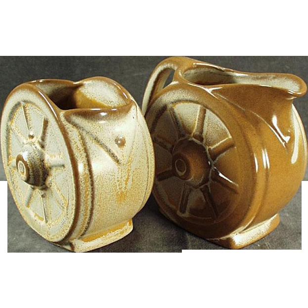 Vintage Frankoma - Wagon Wheel Cream & Sugar Bowl - Ada Clay