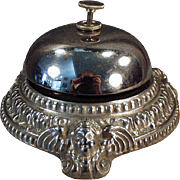 Vintage Counter Top Bell  - Ornate Design - Nickel Plated Base with Cherubs