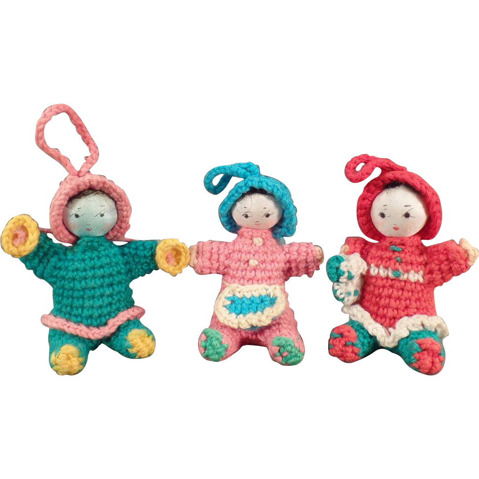 Vintage, Miniature, Crocheted Dolls - Group of 3, Seated