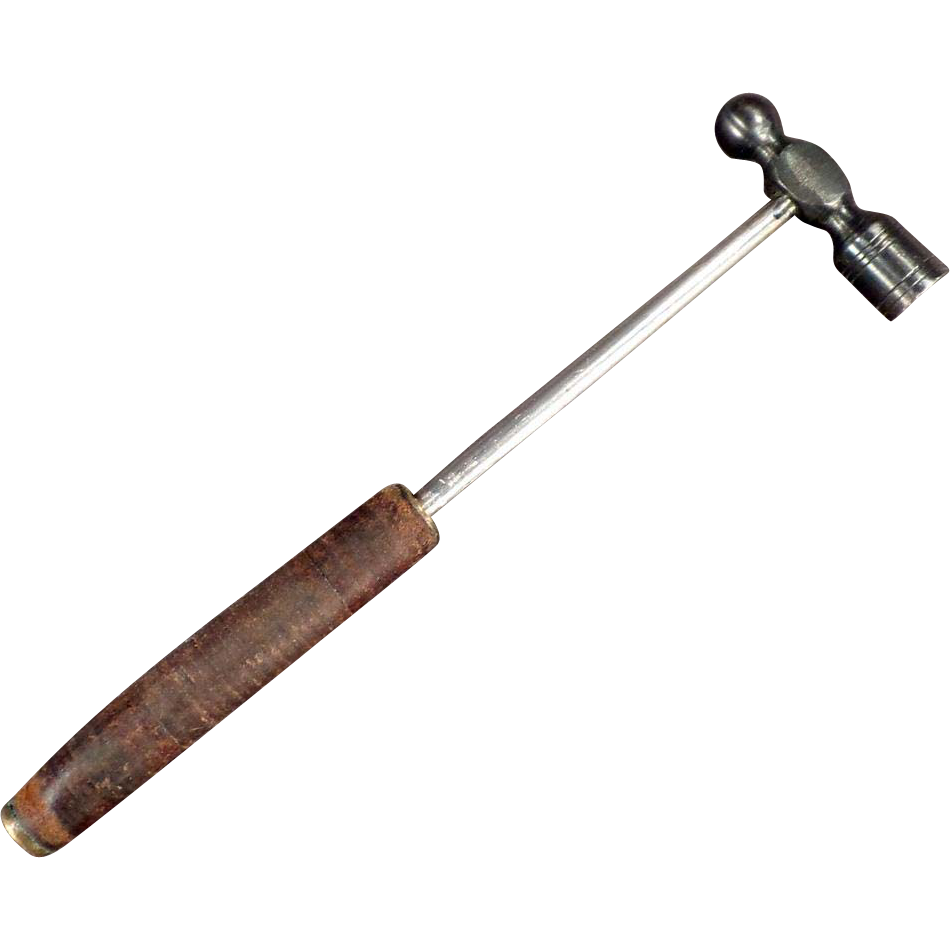 Small, Vintage, Ball Peen Hammer with Leather Handle 2oz.