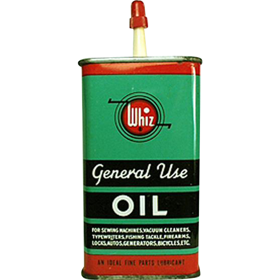 Vintage Whiz, Oil Tin - Colorful Graphics