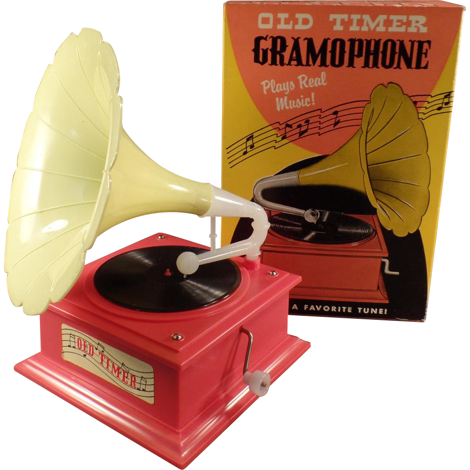 Vintage Music Box - Toy Gramophone with Original Box