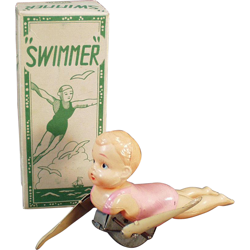Vintage Wind Up Toy - Celluloid Swimmer with Original Box