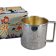 "Child's Vintage Cup - Silver Plate, Engraved with Design & ""Douglas"" with Original Box"