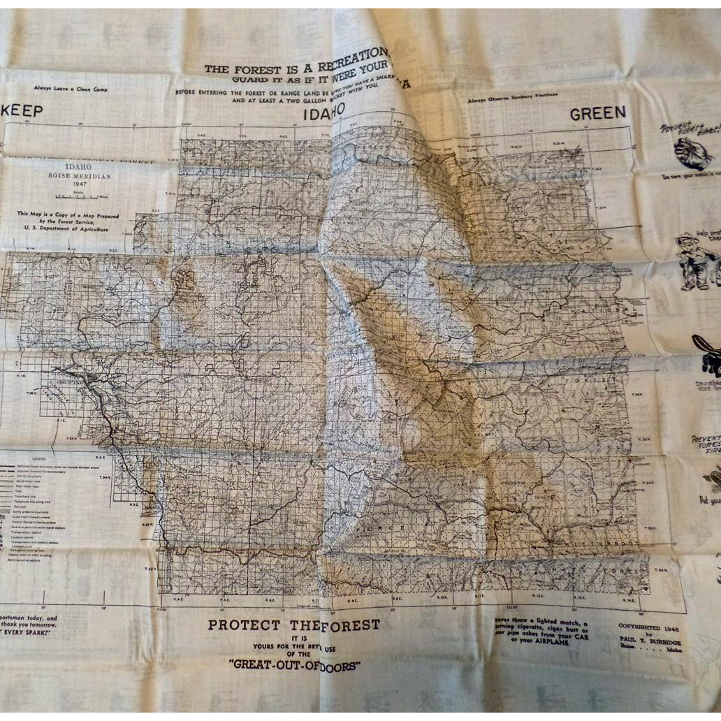1948 Sportsman Washable Map - Clearwater Nat'l Forest, Idaho - Exceptional