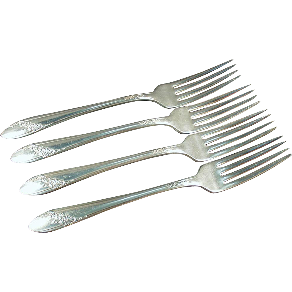 Vintage Oneida 1946, Queen Bess, Silver Plate - 4 Dinner Forks