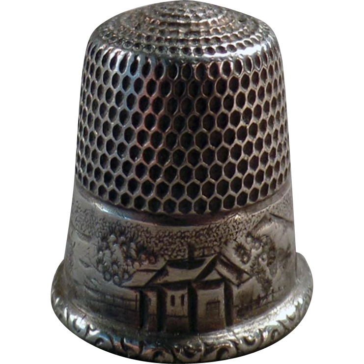Vintage, Sterling Silver Thimble with House & Hillside