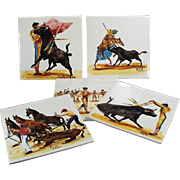 Set of Five, Vintage Art Tiles with Bullfighting Scenes