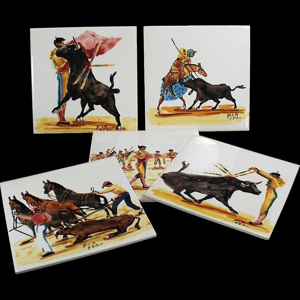 Set of Five, Vintage Art Tiles with Bullfighting Scenes