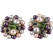 Vintage Bead Earrings - Purple, Lavender & More - Clip-Ons