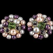 Vintage Bead Earrings - Purple, Lavender & More - Clip-Ons