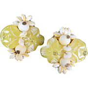 Fun Vintage Earrings - Lemon Yellow with White Beads - Clip-Ons