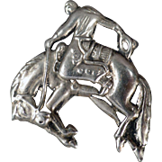 Vintage Pin with Bucking Bronco - Nice Detail - Costume Jewelry