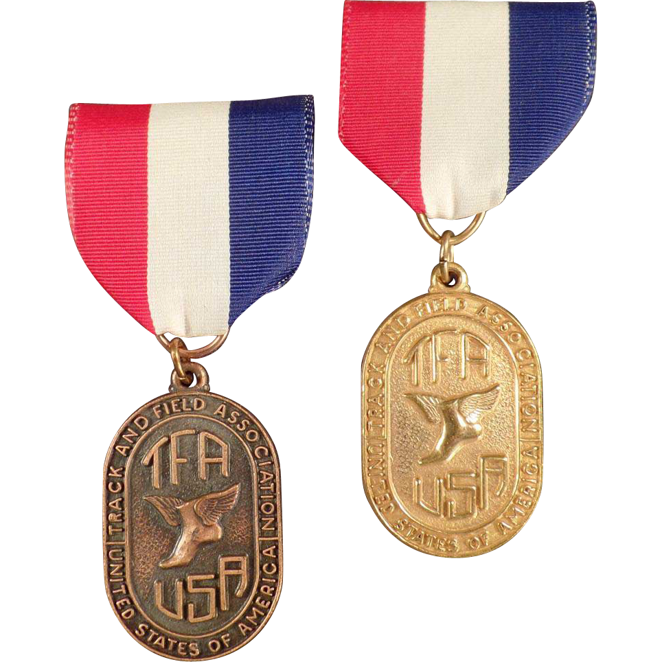 "Vintage ""TFA"" Track and Field Medals with Original Ribbons"