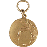 Vintage Track and Field Medal - Gold Colored - High Jump