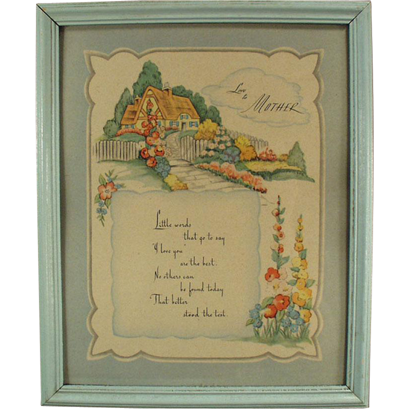 Old Motto Print - Love to Mother - Framed