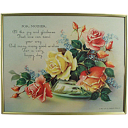 "Old Motto Print - ""For Mother!"" with Roses - Framed"