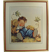 Old Print by Anne Allaben - Lazybones - Framed - Perfect for a Child's Room
