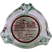 Vintage Advertising Ashtray - Western Realty of Boise, Idaho