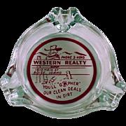 Vintage Advertising Ashtray - Western Realty of Boise, Idaho
