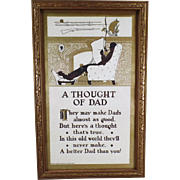 Vintage Motto Print - A Thought of Dad - Nice Gift for Father