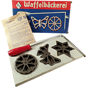 Vintage Waffelbackerei, Rosette Wafer Irons with Original Box