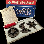 Vintage Waffelbackerei, Rosette Wafer Irons with Original Box