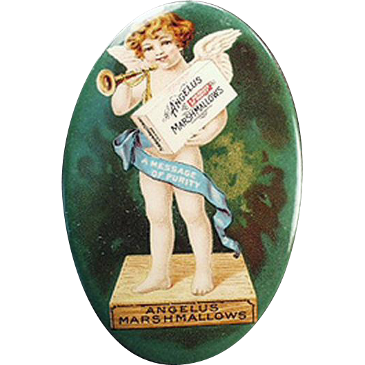 Vintage, Celluloid Pocket Mirror -  Angelus Marshmallows - Colorful Cherub