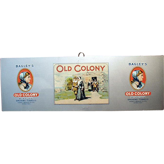 Vintage, Bagley's Old Colony Tobacco, Tin Advertising Sign