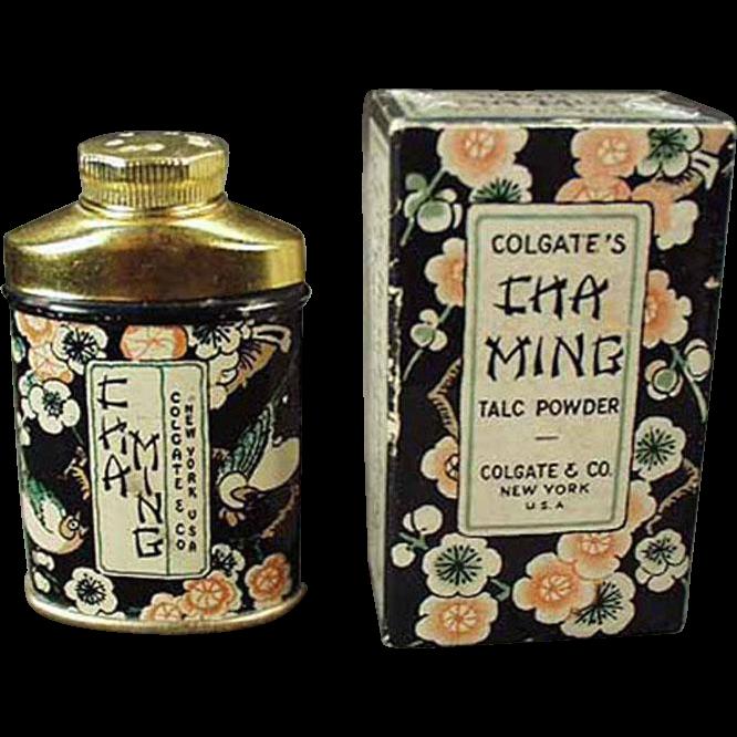 Vintage Sample Talc Tin - Clogate Cha Ming w-Original Box
