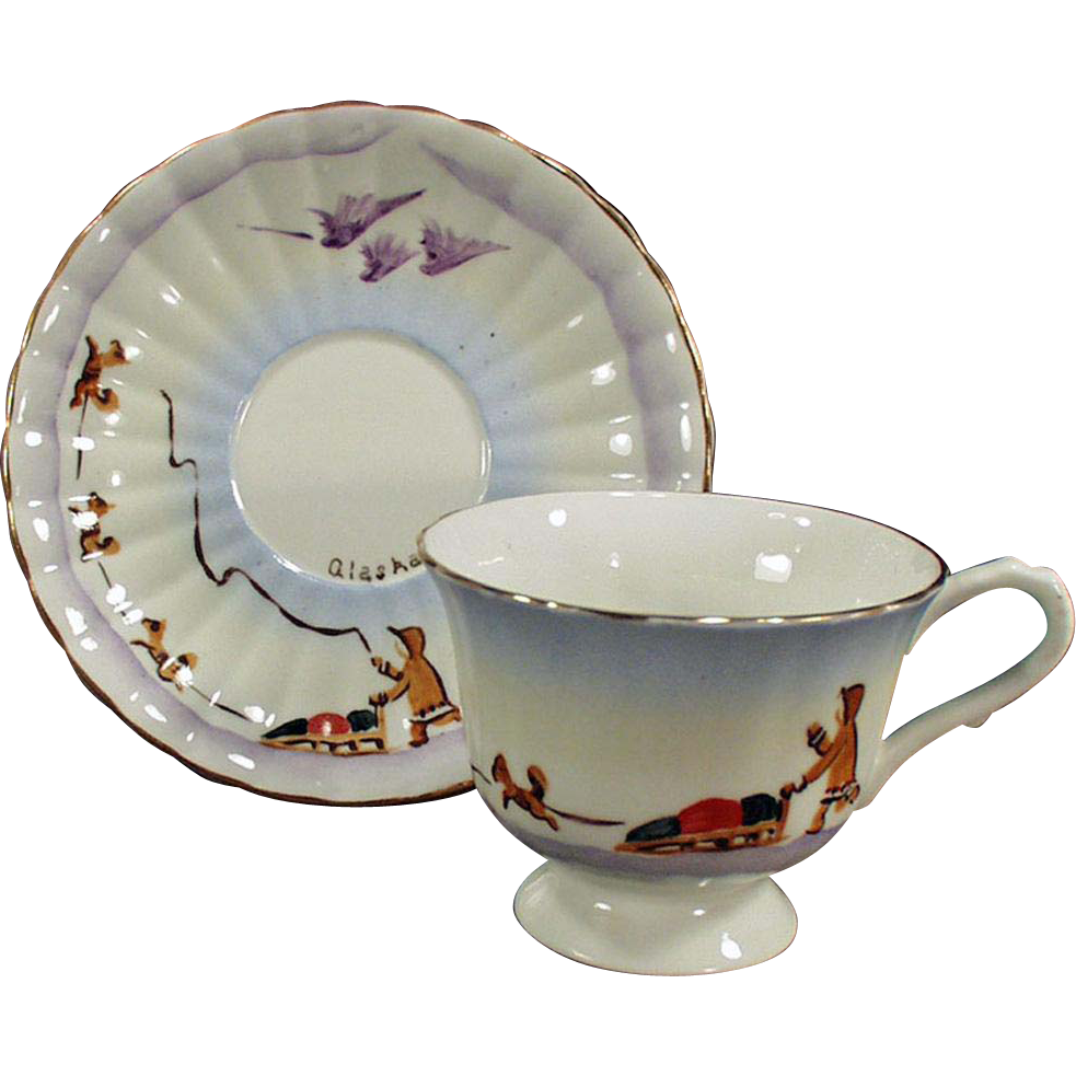 Vintage Cup & Saucer - Alaskan Souvenir - Hand Painted Dog Sled