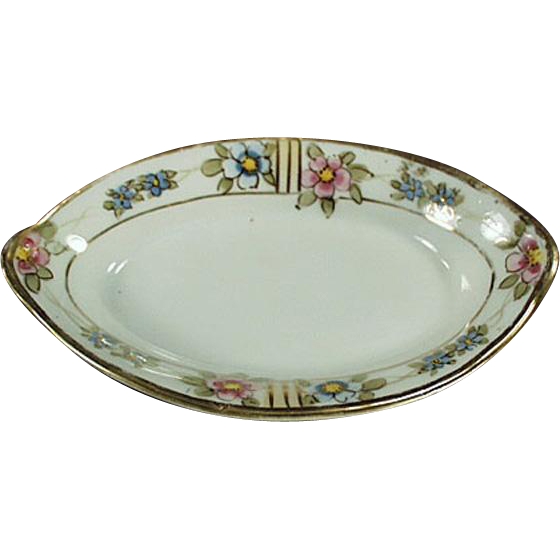 Vintage, Individual Salt Dip - Nippon - Floral Design with Gold Trim