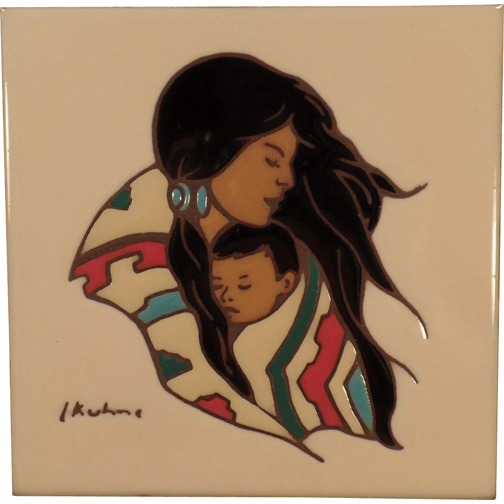 Old Hand Painted Art Tile with Native Mother & Child Image