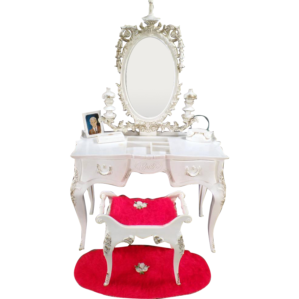 Vintage, Susy Goose Barbie Vanity Table with Matching Bench and Rug