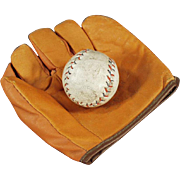 Child's Vintage Baseball Mitt & Ball - Jr. Flash Mitt with Cork Ball
