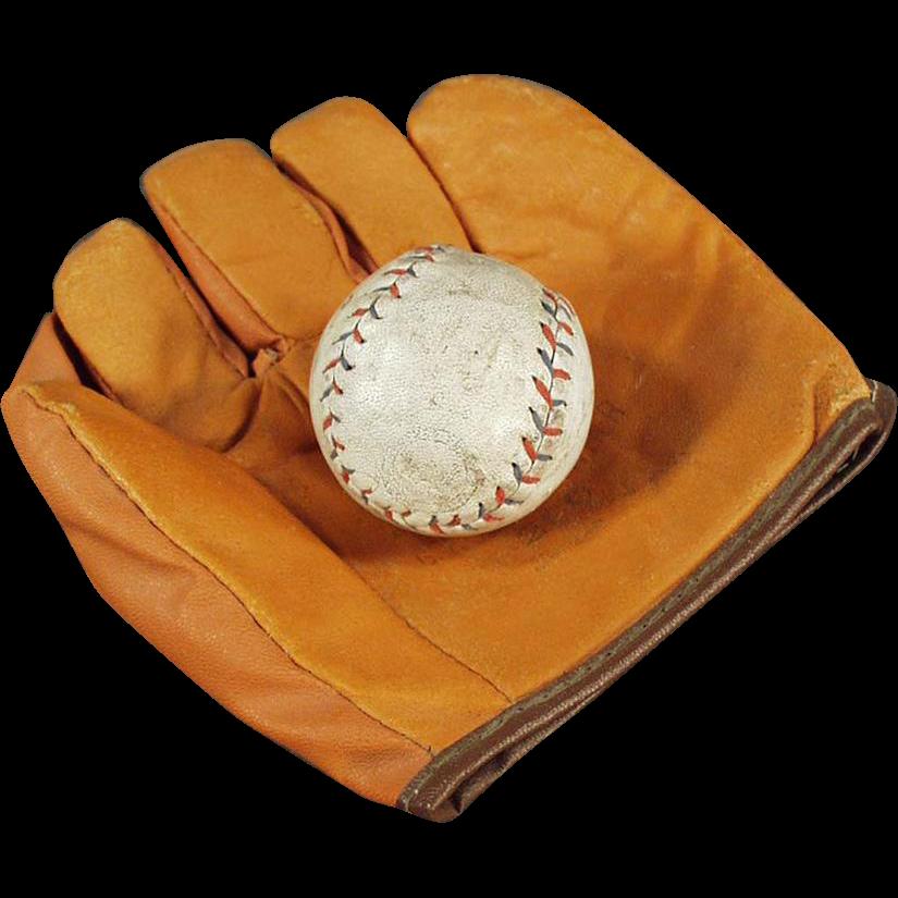 Child's Vintage Baseball Mitt & Ball - Jr. Flash Mitt with Cork Ball