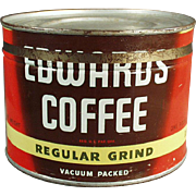 Vintage Coffee Tin - Edwards 1# Key Wind