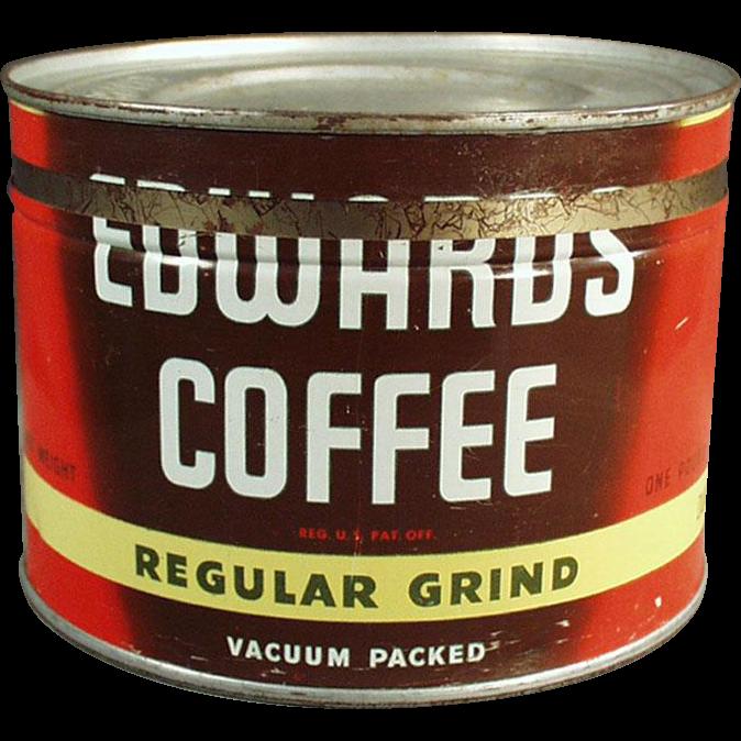 Vintage Coffee Tin - Edwards 1# Key Wind