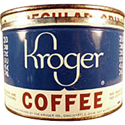 Vintage, 1 Pound Key Wind Coffee Tin - Kroger's
