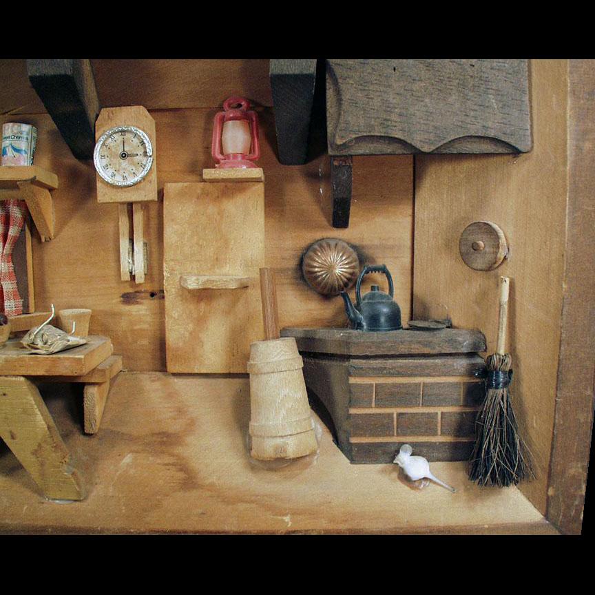 Vintage Shadow Box - Miniature Kitchen Scene - 1970's Folk Art