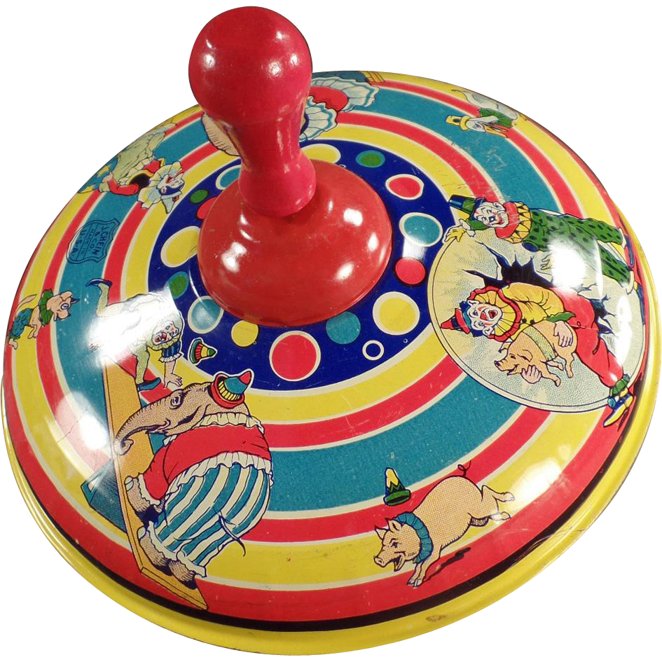 Vintage Spinning Top with Circus Animals and Clowns - Made by Chein