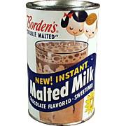 Vintage, Borden's Malted Milk Tin - Great Graphics including Elsie the Borden's Cow
