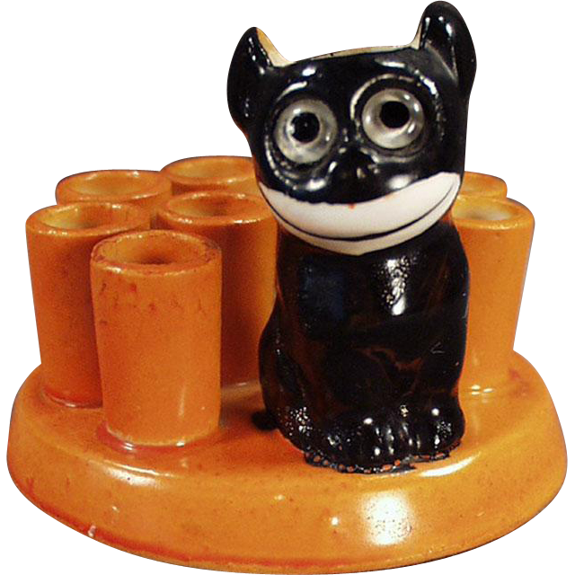 Vintage, Black Cat Novelty with Felix Like Figure - Made in Germany