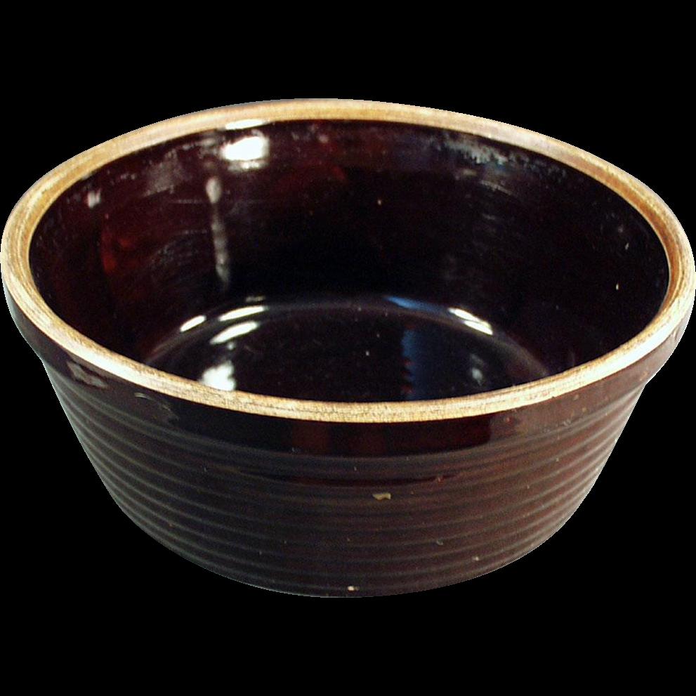 Vintage Stoneware Bowl - U.S.A. - Dark Brown Glaze