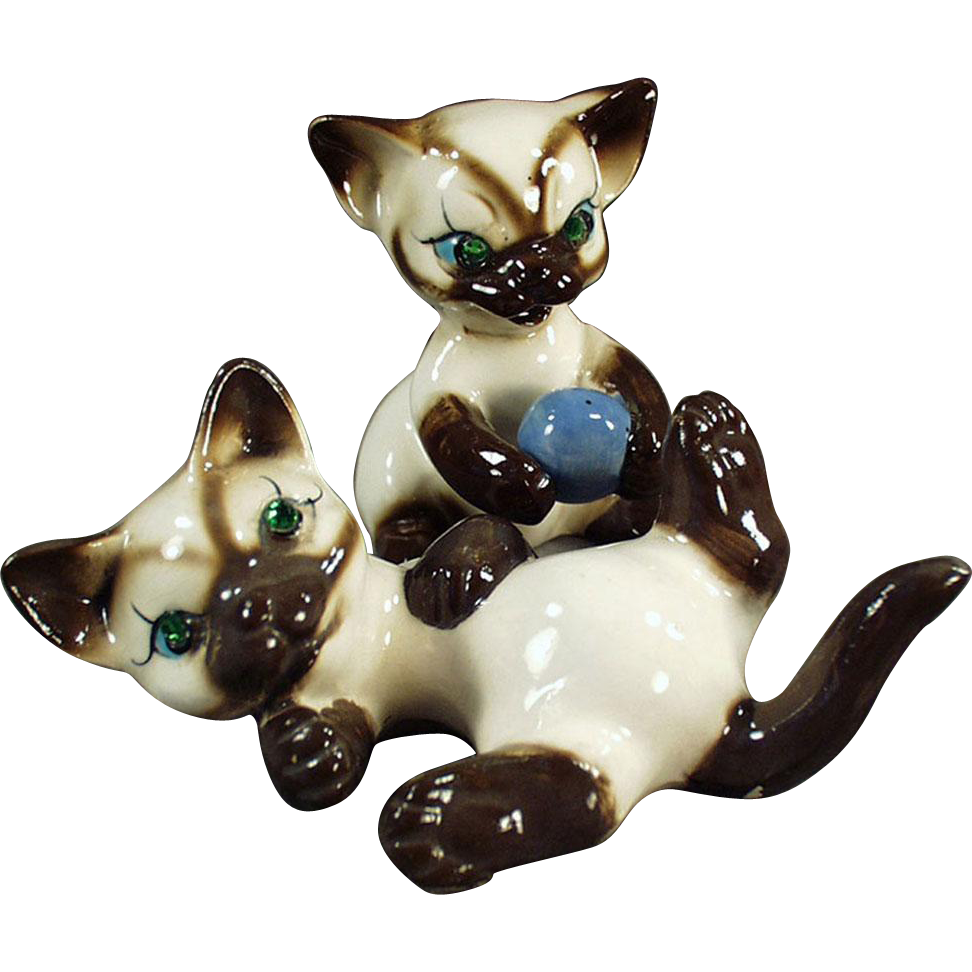 Vintage Siamese Kitten Figurines with Rhinestone Eyes