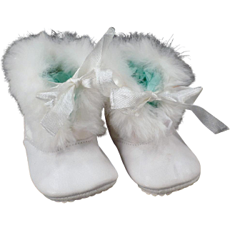 Vintage, White Leather Baby Booties with Fur Trim