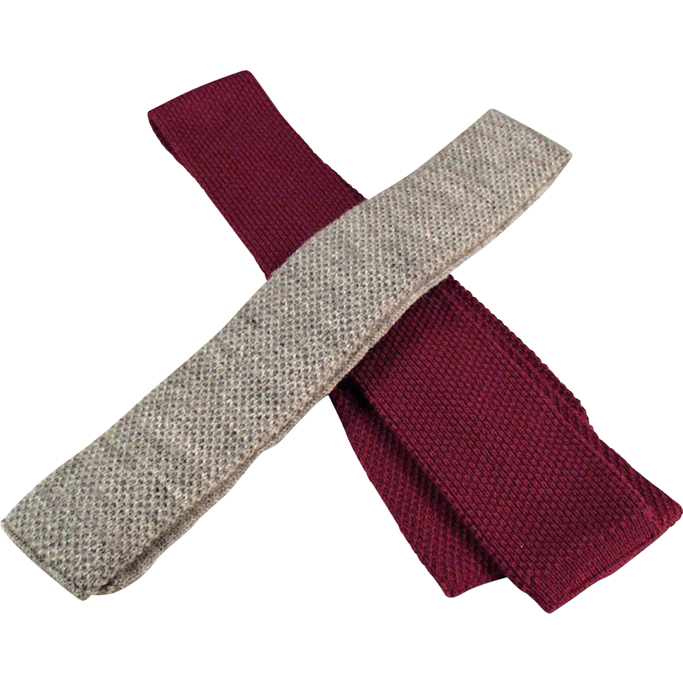 Men's Vintage Neckties - Skinny, Knit, Square Bottom - Two(2)