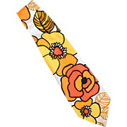 Men's Vintage Necktie - Wide with Wild Flower Power