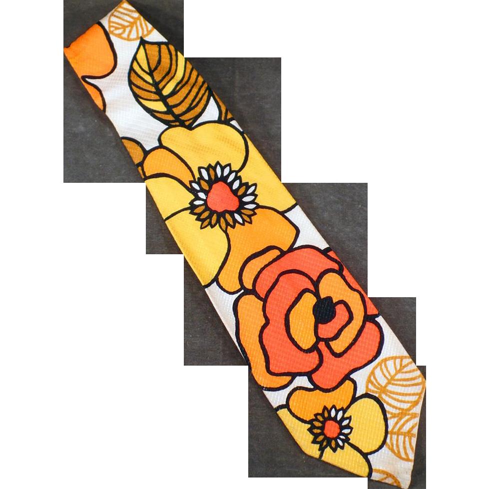 Men's Vintage Necktie - Wide with Wild Flower Power