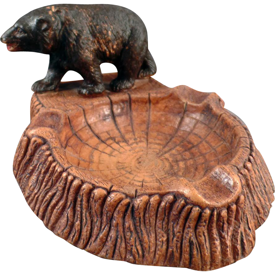 Vintage Syroco Ashtray with Bear Figure